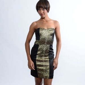 Asian Mattox black and gold cross strapless dress